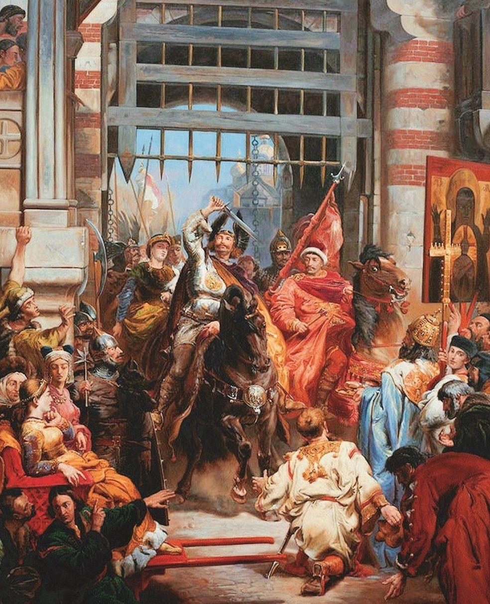 Obraz Jana Matejki przedstawiający wjazd Chrobrego do Kijowa. W lektyce siedzi Przedsława (źródło: domena publiczna).