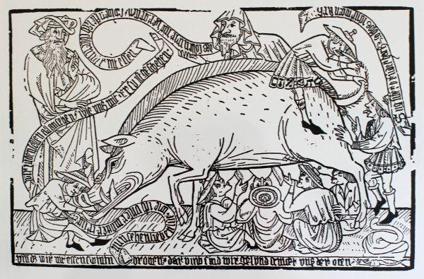 Niemal wszystko, co Żyd może zrobić ze świnią, na jednej rycinie. Antysemicka ilustracja z XV wieku, część stałej ekspozycji w Kulturhaus Wittlich w Nadrenii (źródło: domena publiczna).