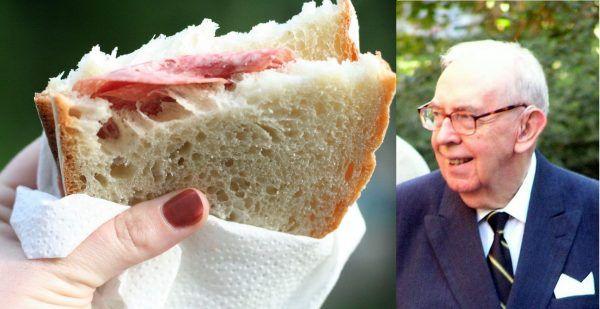 """""""Panie Ministrze, oto Pańska kanapka"""" (fot. kanapki autorstwa leigh wolf (Flickr), lic. CC BY 2.0, fot. """"Skubiego"""" autorstwa Eteru, lic. CC BY-SA 3.0)."""