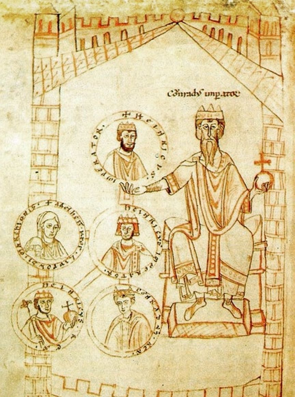 Po objęciu władzy Konrad II musiał stawić czoła silnej opozycji, która szukała poparcia u Mieszka II. Najazd z 1028 roku nie miał jednak nic wspólnego z buntem przeciwko niemieckiemu władcy Na ilustracji Konrad II i jego potomkowie (źródło: domena publiczna).