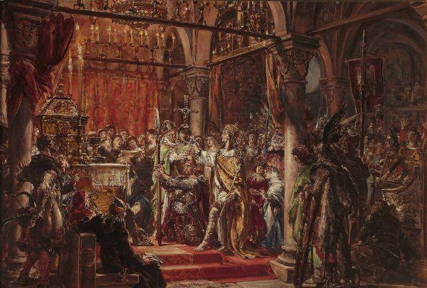 Gdyby nie Rycheza najpewniej Chrobry nigdy nie zostałby królem. Na ilustracji obraz Jana Matejki przedstawiający pierwszą polską koronację (źródło: domena publiczna).