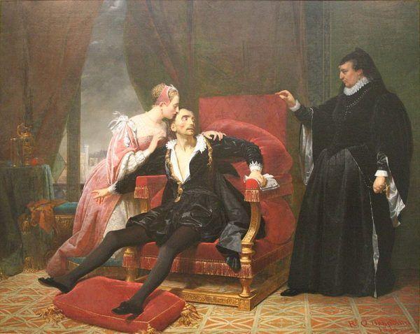 Karol IX całe swoje panowanie pozostawał pod przemożnym wpływem matki. Na obrazie umierający król w ramionach żony, Elżbiety Austriackiej, nawet w tej chwili pod bacznym okiem Katarzyny Medycejskiej. Obraz Raymonda Monvoisina z 1834 roku (źródło: domena publiczna).