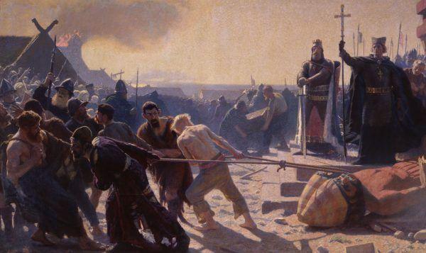 """Laurits Tuxen, """"Obalenia Świętowita w Arkonie przez biskupa Absalona"""", przed 1890 (źródło: domena publiczna)."""