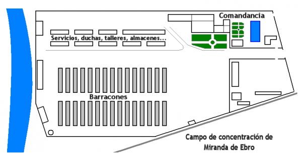 Franco, korzystając z nazistowskich wzorców, zamknął swoich przeciwników w obozach koncentracyjnych. Na ilustracji plan obozu Miranda de Ebro (autor: Mr. Benq; lic. domena publiczna).