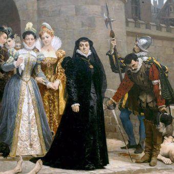 Katarzyna Medycejska przygląda się ciałom poległych w masakrze św. Bartłomieja. Obraz Édouarda Debat-Ponsana z 1880 roku (źródło: domena publiczna).