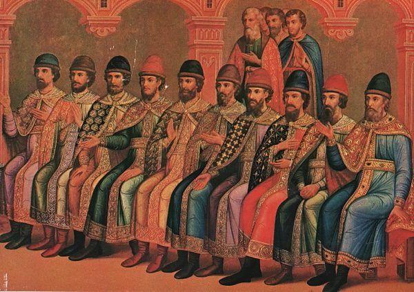 Jak widać na powyższym malunku, Włodzimierz Wielki miał wielu synów. Szczególną rolę w wydarzeniach 1031 roku odegrało aż dwóch z nich - nie tylko Jarosław Mądry, ale i Mścisław Chrobry. Fragment fresku z kremlowskiej Komnaty Graniastej z przełomu lat 1881/82 (źródło: domena publiczna).
