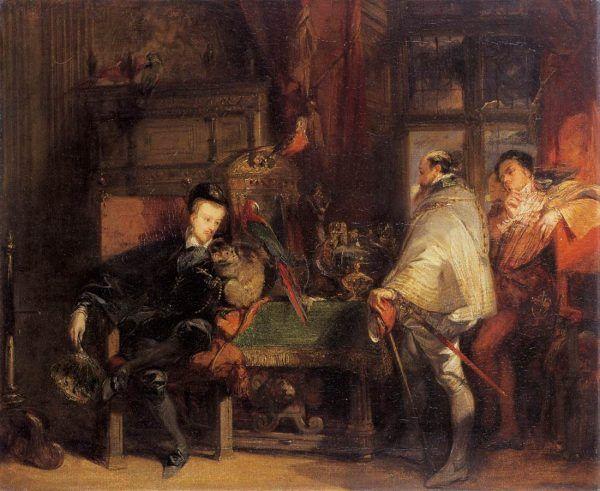 Henryk III - jak się zdaje - uwielbiał ubierać się na czarno. Tym razem bez trupich czaszek, za to z papugą na ramieniu. XIX-wieczny obraz Richarda Parkesa Boningtona (źródło: domena publiczna).