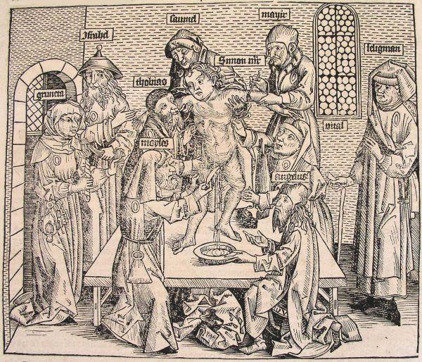 Zniknęło chrześcijańskie dziecko? To z pewnością wina miejscowych Żydów! Na rysunku widzimy, jak rytuał poświęcenia dziecka wyglądał według Hartmanna Schedela (Kronika Norymberska z 1493 roku, źródło: domena publiczna).