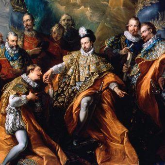 Henryk III w swoim żywiole jako Wielki mistrz otoczony Rycerzami Zakonu Ducha Świętego. Obraz namalował Charles-André van Loo w 1765 roku (źródło: domena publiczna).