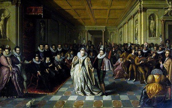 Henryk Walezy (pierwszy siedzący po lewej) na ślubie jednego ze swych faworytów, księcia Joyeuse, którego ożenił ze swą własną szwagierką. Obraz przypisywany Hieronymusowi Franckenowi (źródło: domena publiczna).