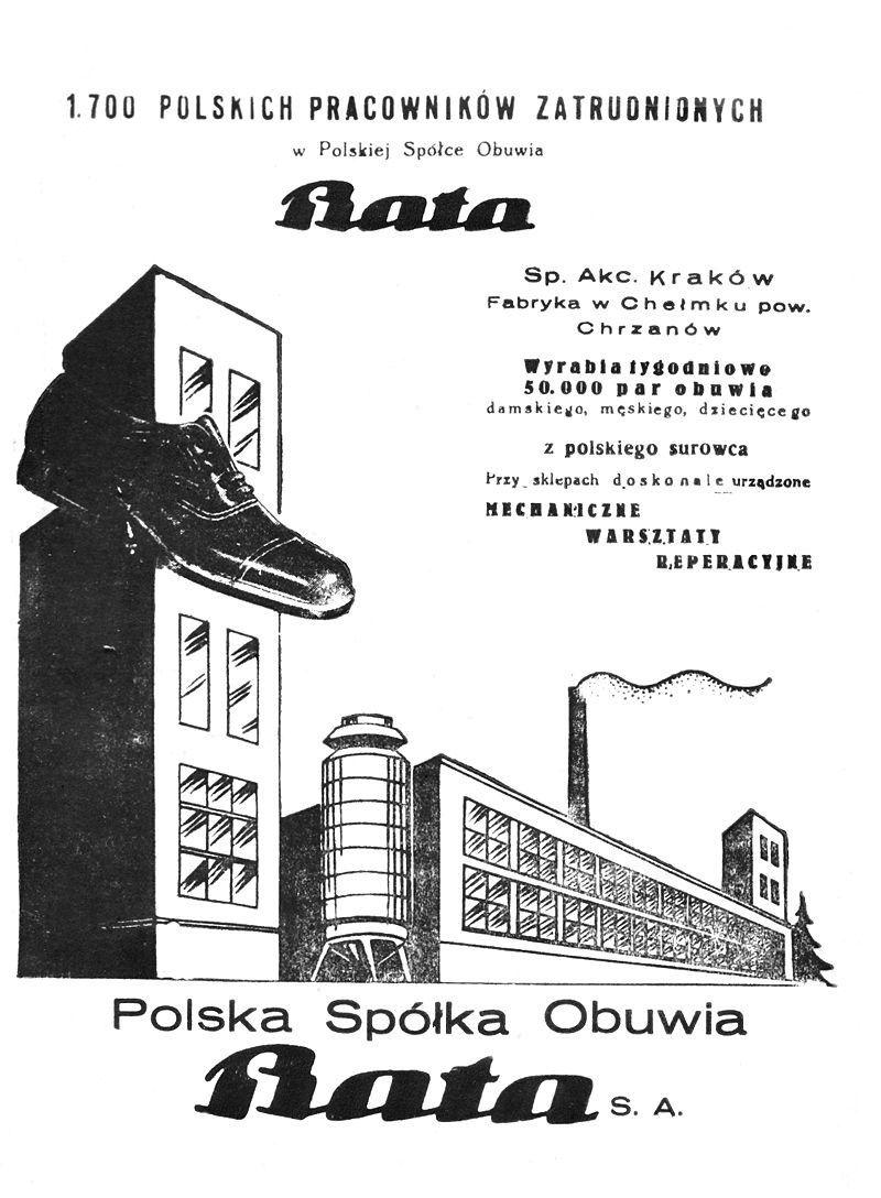 Bata. Niby firma czeska, ale w Polsce miała - według plakatu - aż 1700 pracowników.