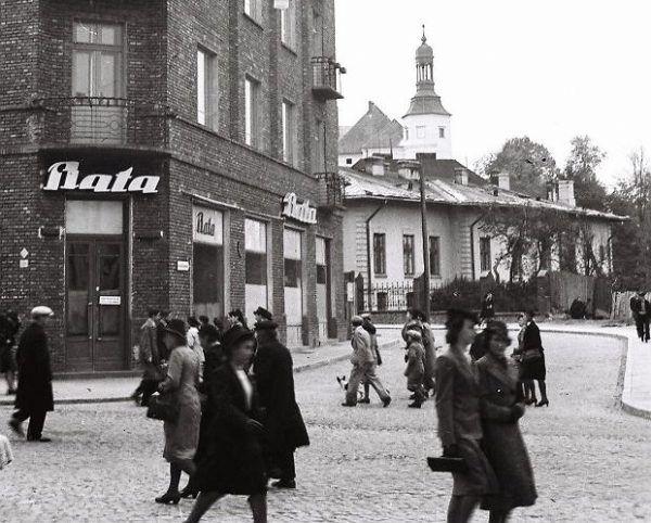 Pierwszy, przedwojenny salon Baty w Kielcach.