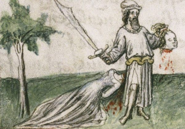Egzekucja kobiety na miniaturze z francuskiego kodeksu. Przełom XIV i XV wieku.