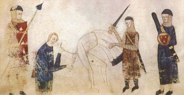 Scena kastracji na miniaturze z XIII-wiecznego francuskiego kodeksu.