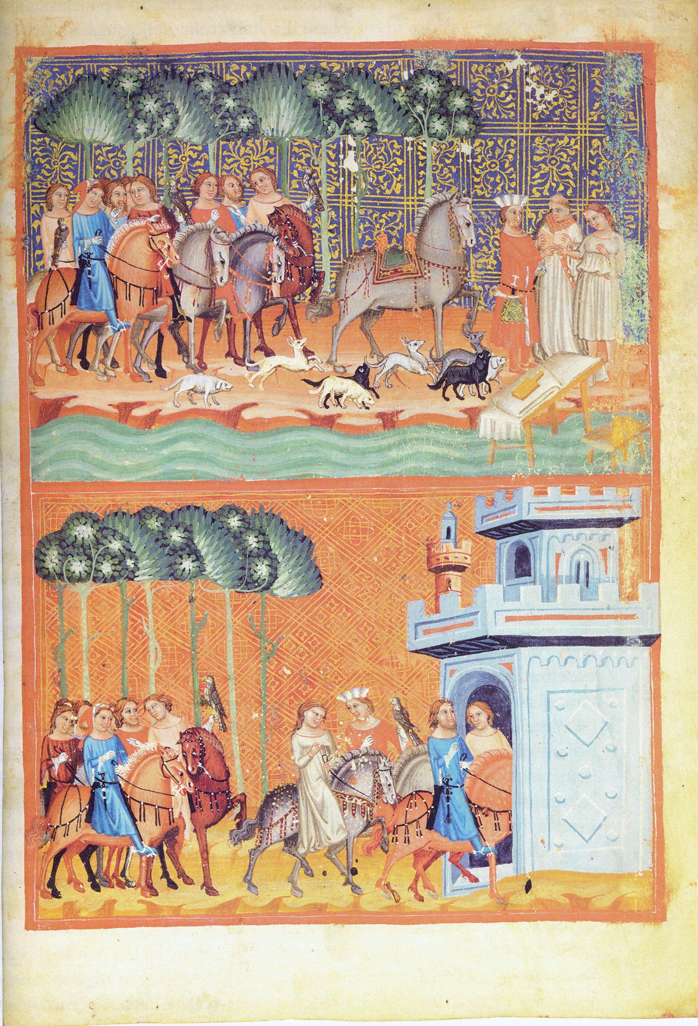 Ołdrzych z eskortą na miniaturze z XIV-wiecznej Kroniki Dalimila.
