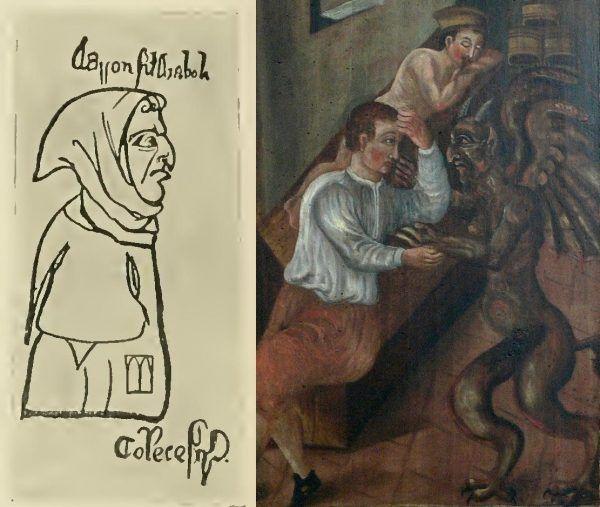 """Ten wielki, zagięty kichol... to musi być diabelskie nasienie! Po lewej karykatura angielska z 1277 roku, podpisana """"Aaron, syn Diabła"""", po prawej detal z bamberskiej """"Gründungslegende"""", powstałej wprawdzie w XVII wieku, ale opowiadającej o XIV-wiecznym hostiokradzie Szymonie (źródło: domena publiczna)."""