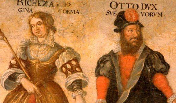 Królowa Rycheza i jej brat Otton. Malowidło nowożytne.