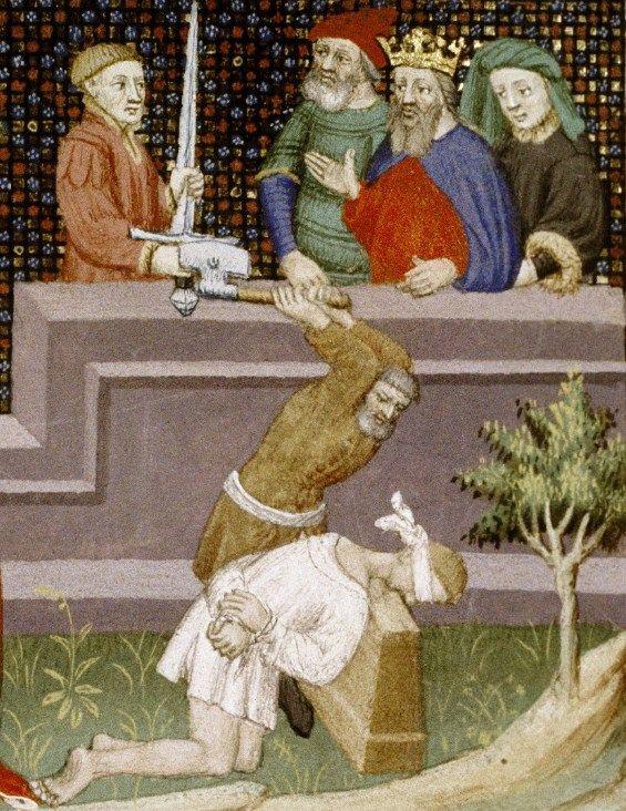 Egzekucja na oczach monarchy. Miniatura z Paryża. Pierwsza połowa XV wieku.