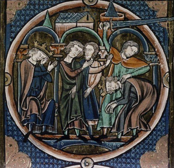 Egzekucja na miniaturze z francuskiego kodeksu z XIII stulecia.