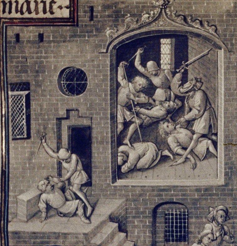 Rzeź na kartach flamandzkiego kodeksu z połowy XV stulecia.