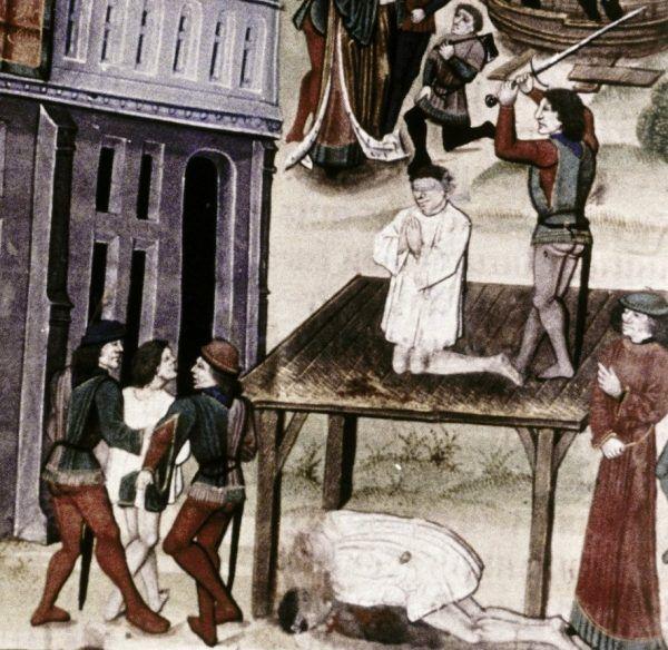 Śmierć poprzez ścięcie mieczem. Miniatura z flamandzkiego kodeksu z końca XV stulecia.