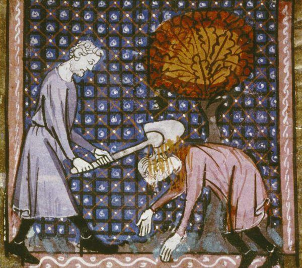 Kain morduje Abla. Miniatura z francuskiego kodeksu z początku XIV wieku.
