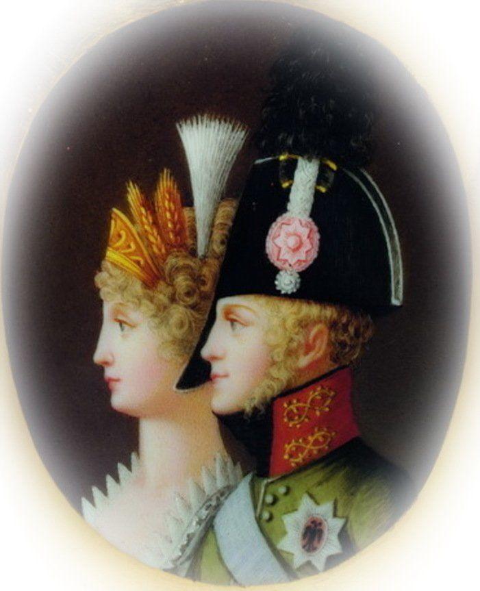 Ona blondynka, on blondyn, a dziecko ciemnowłose. Zrządzenie wszechmocnego Boga, czy może jednak działalność Czartoryskiego? Miniatura przedstawiająca Elżbietę i Aleksandra I z XIX wieku (źródło: domena publiczna).