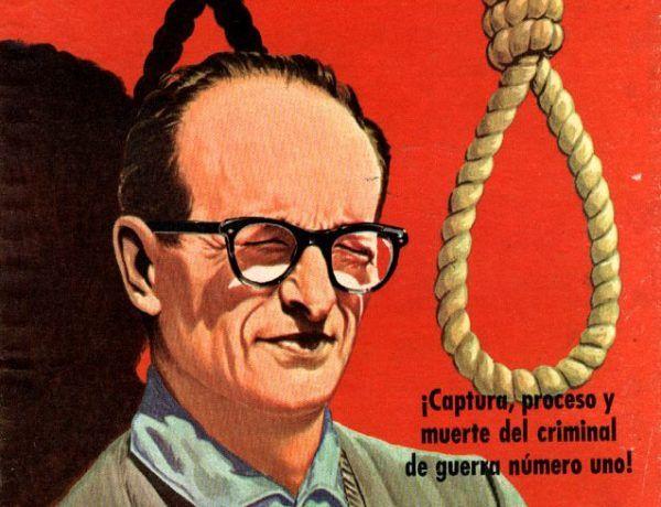 """Eichmannowi długo udawało się uniknąć odpowiedzialności za swe zbrodnie, ale sprawiedliwość w końcu go dosięgła. Na ilustracji fragment okładki książki """"El Caso Adolf Eichmann""""."""