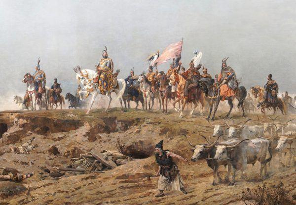 """Czyżby """"pomiot szatana"""" był nie taki straszny, jak go malowano? Obraz przedstawia oddziały Węgrów przekraczające Karpaty pod wodzą Arpada (autor: Árpád Feszty, domena publiczna)."""