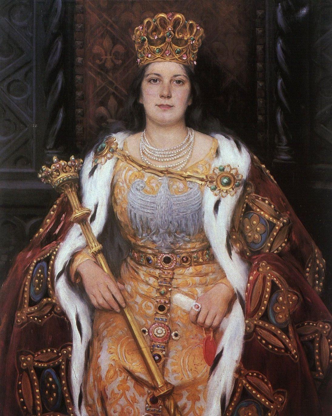 """""""Królowa Jadwiga Andegaweńska"""", obraz Aleksandra Augustynowicza z ok. 1925 r."""