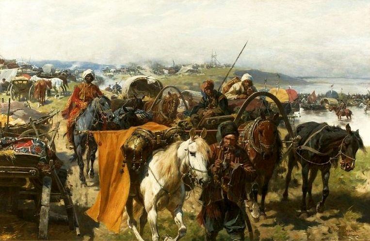 Józef Brandt, Obóz Zaporożców. Czy taki właśnie widok zobaczyli lwowianie, kiedy obudzili się 5 października 1648 r.? (źródło: domena publiczna)