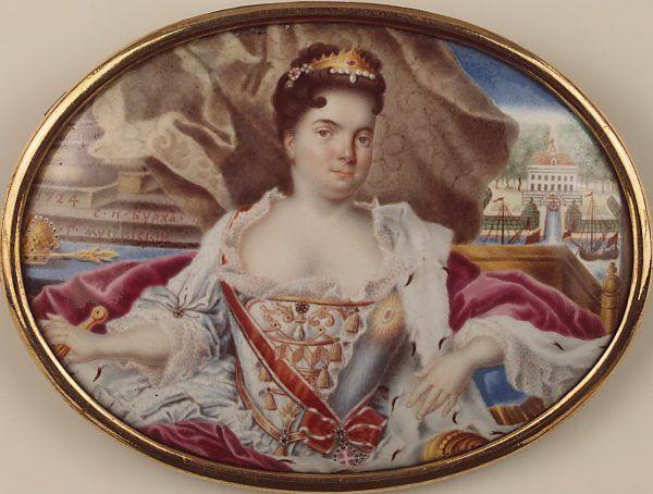 Życie Katarzyny I układało się jak na karuzeli. Omal nie zaprzepaściła wszystkiego przez romans z Monsem, po czym... została władczynią całej Rosji! Miniatura Grigorija Musikijskiego z 1724 roku - tego samego, w którym Wilhelm stracił dla cesarzowej głowę (źródło: domena publiczna).