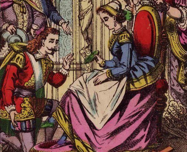 Prawdziwy Kopciuszek też miał pewne problemy z pantofelkiem, choć nieco innej natury. Fragment ilustracji z XIX-wiecznego wydania tej baśni (źródło: domena publiczna).