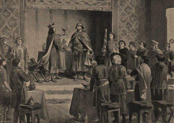 Pisząc o zjeździe gnieźnieńskim Gall Anonim pomylił cesarza Ottona III z jego nieżyjącym od kilkunastu lat ojcem (źródło: domena publiczna).