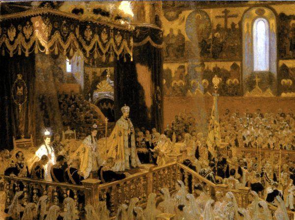 Mikołaj II, choć z natury raczej dobry i łagodny, był niewłaściwym człowiekiem na niewłaściwym miejscu. A jego największym grzechem było niezachwiane przekonanie o nieograniczoności własnej władzy, mimo braku kompetencji do jej sprawowania. Na obrazie koronacja Mikołaja II i jego żony Aleksandry Fiodorowny pędzla Lauritsa Tuxena (źródło: domena publiczna).