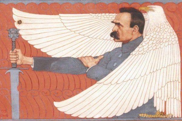 Józef Piłsudski wyssał walkę z caratem z mlekiem matki. Obraz Edwarda Okunia z 1919 roku (źródło: domena publiczna).