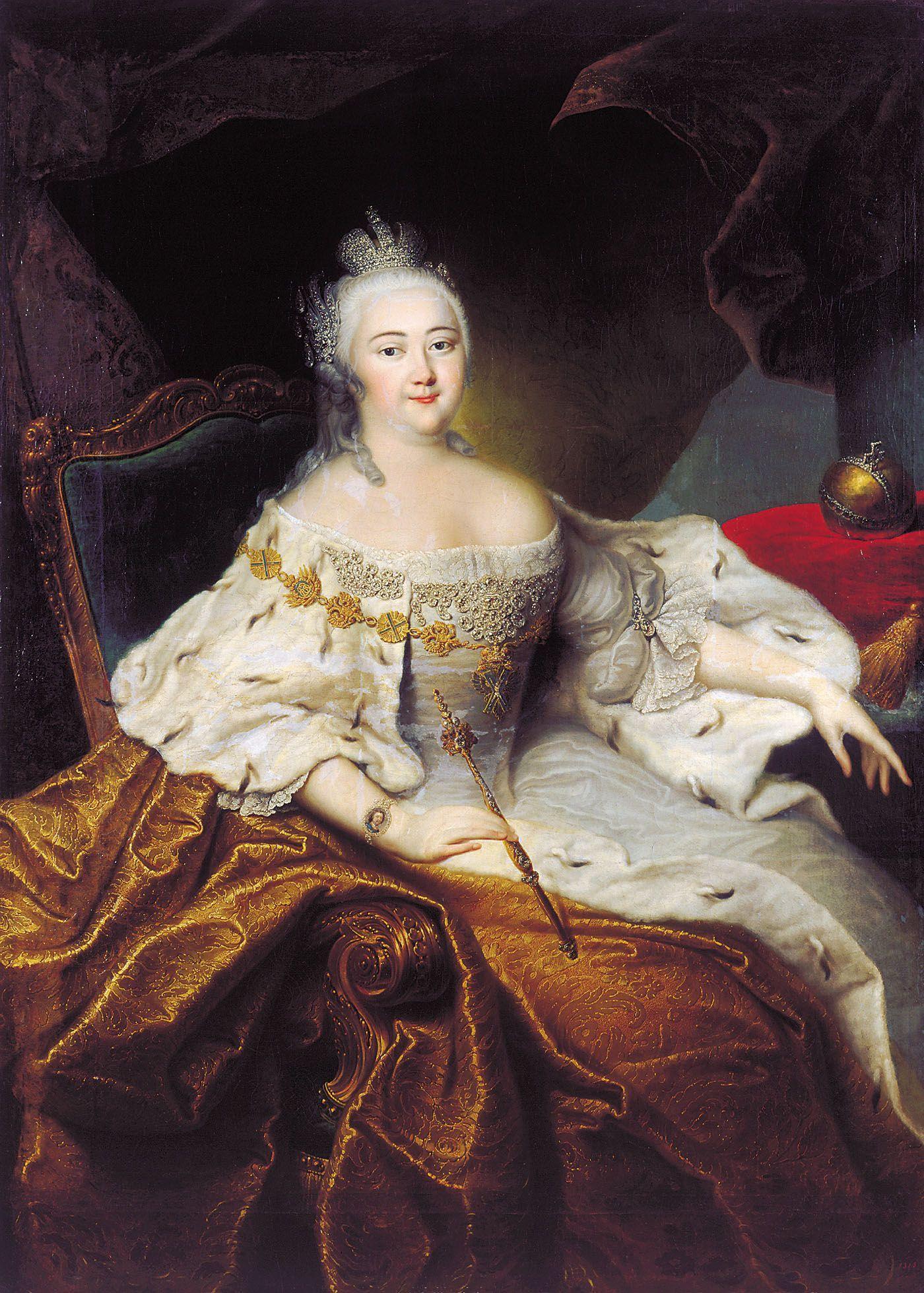 Stara panna - tak. Dziewica - absolutnie nie! Caryca Elżbieta I korzystała z rozkoszy łoża od wczesnej młodości do śmierci. Portret pędzla Georga Christopha Grootha z XVIII wieku (źródło: domena publiczna).