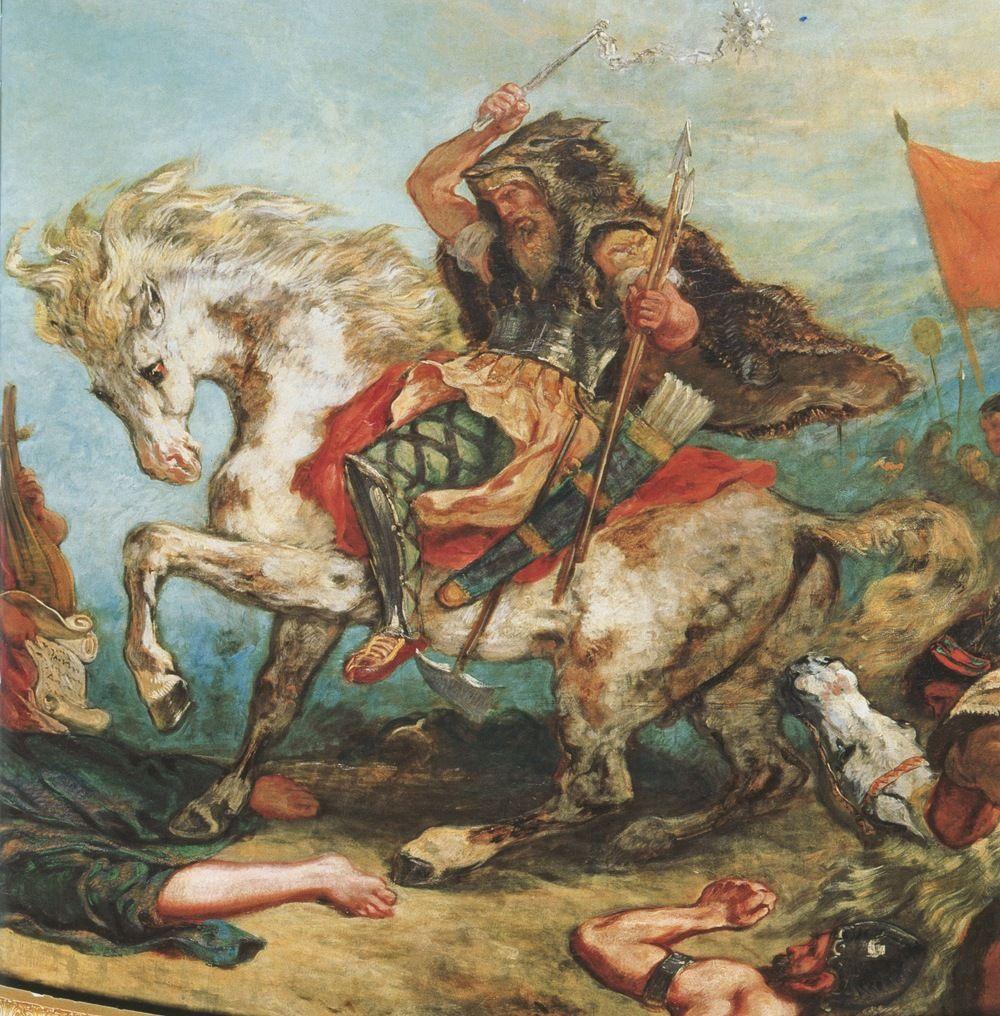 Średniowieczni (i nie tylko) uznawali za pewnik, że Madziarzy są potomkami Hunów. Nawet królowie Węgier uważali siebie za następców Attyli. Fragment obrazu Eugène Delacroix przedstawiający słynnego wodza Hunów (źródło: domena publiczna).