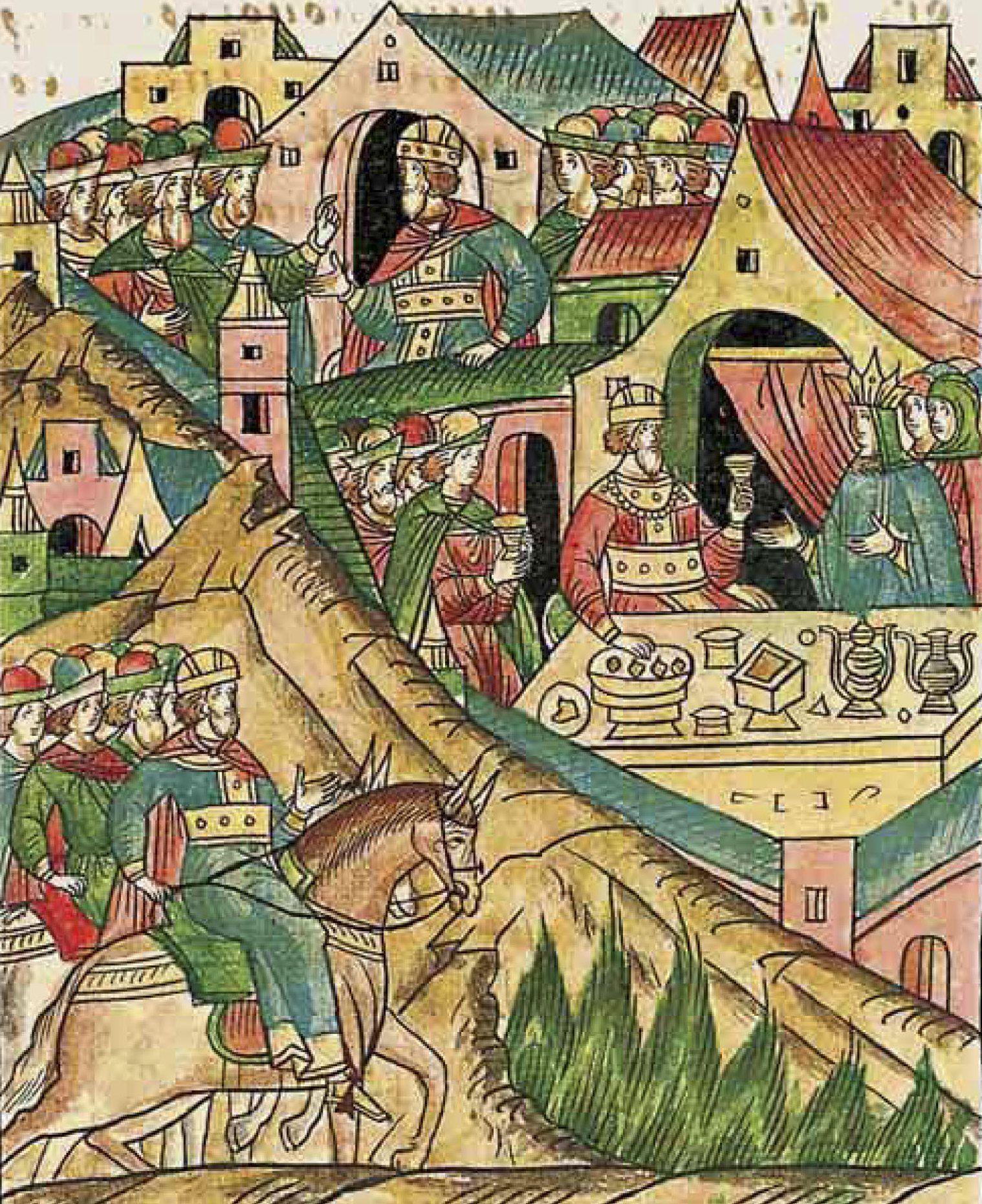Jeśli impreza u Jadwigi i Jagiełły, to tylko ze stołami uginającymi się od jadła. Miniatura z XVI-wiecznego latopisu, przedstawiająca wesele tej pary (źródło: domena publiczna).