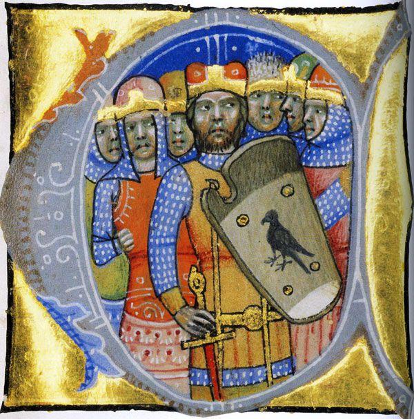 Bitni Węgrzy większość X wieku spędzili wojując z niemal całą Europą. Na miniaturze ich wódz i protoplasta pierwszej dynastii Arpad ze swą drużyną (źródło: Chronicon Pictum, domena publiczna).