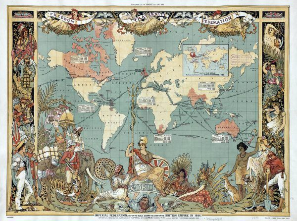 Lata dominacji nad światem zostawiły w Brytyjczykach przeświadczenie, że są lepsi od wszystkich, niezależnie od pochodzenia i koloru skóry. Ozdobna mapa imperium brytyjskiego w 1886 roku autorstwa Waltera Crane'a (źródło: domena publiczna).