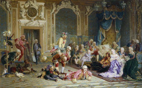"""Caryca Anna dbała, by w jej otoczeniu było bardzo wesoło... Obraz Walerija Jakobiego """"Błaźni na dworze cesarzowej Anny Joannownej"""" z 1872 roku (źródło: domena publiczna)."""