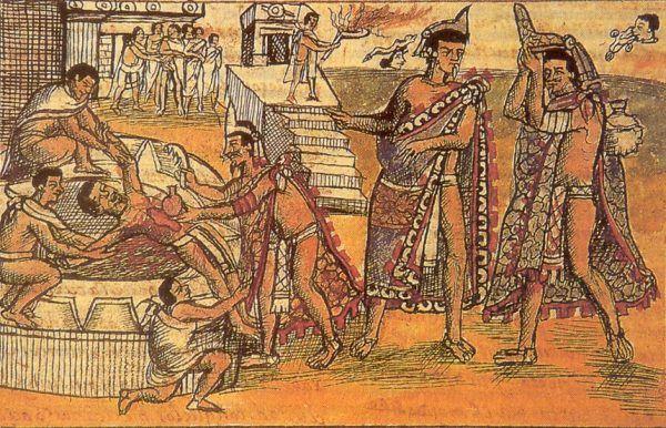 Azteccy kapłani dosłowni ociekali krwią niewolników składanych w ofierze (źródło: domena publiczna).