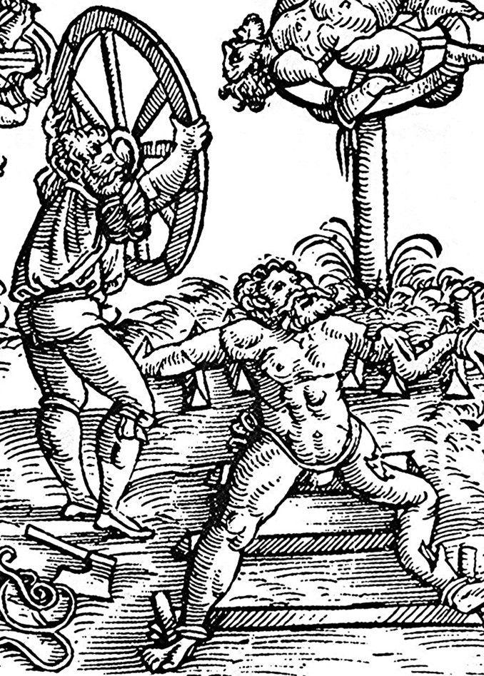Łamanie kołem na nowożytnej ilustracji (źródło: domena publiczna).