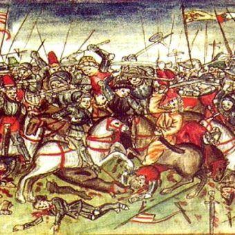 Krwawa bitwa nad rzeką Lech na ilustracji Hektora Mülicha (1415-1490), pochodzącej z kroniki Norymbergi z 1457 roku autorstwa Sigmunda Meisterlina (źródło: domena publiczna).
