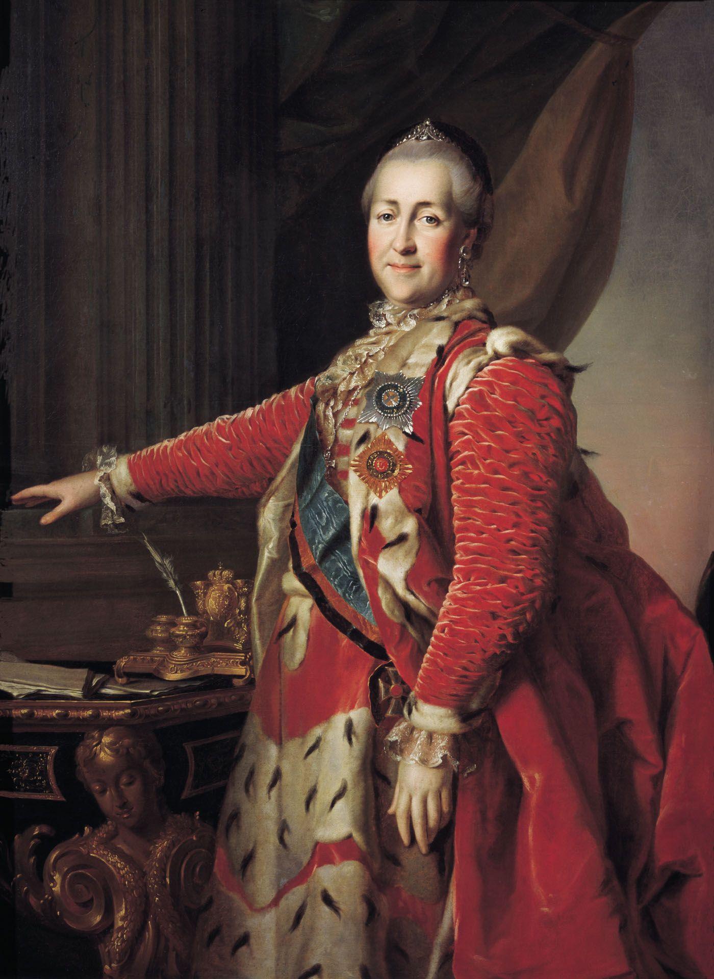 Katarzyna II kreowała się na oświeconą władczynię, ale nie przeszkadzało jej to w zezwoleniu na handel chłopami. Caryca na portrecie pędzla Dmitrija Grigorjewicza Lewickiego z 1782 roku (źródło: domena publiczna).