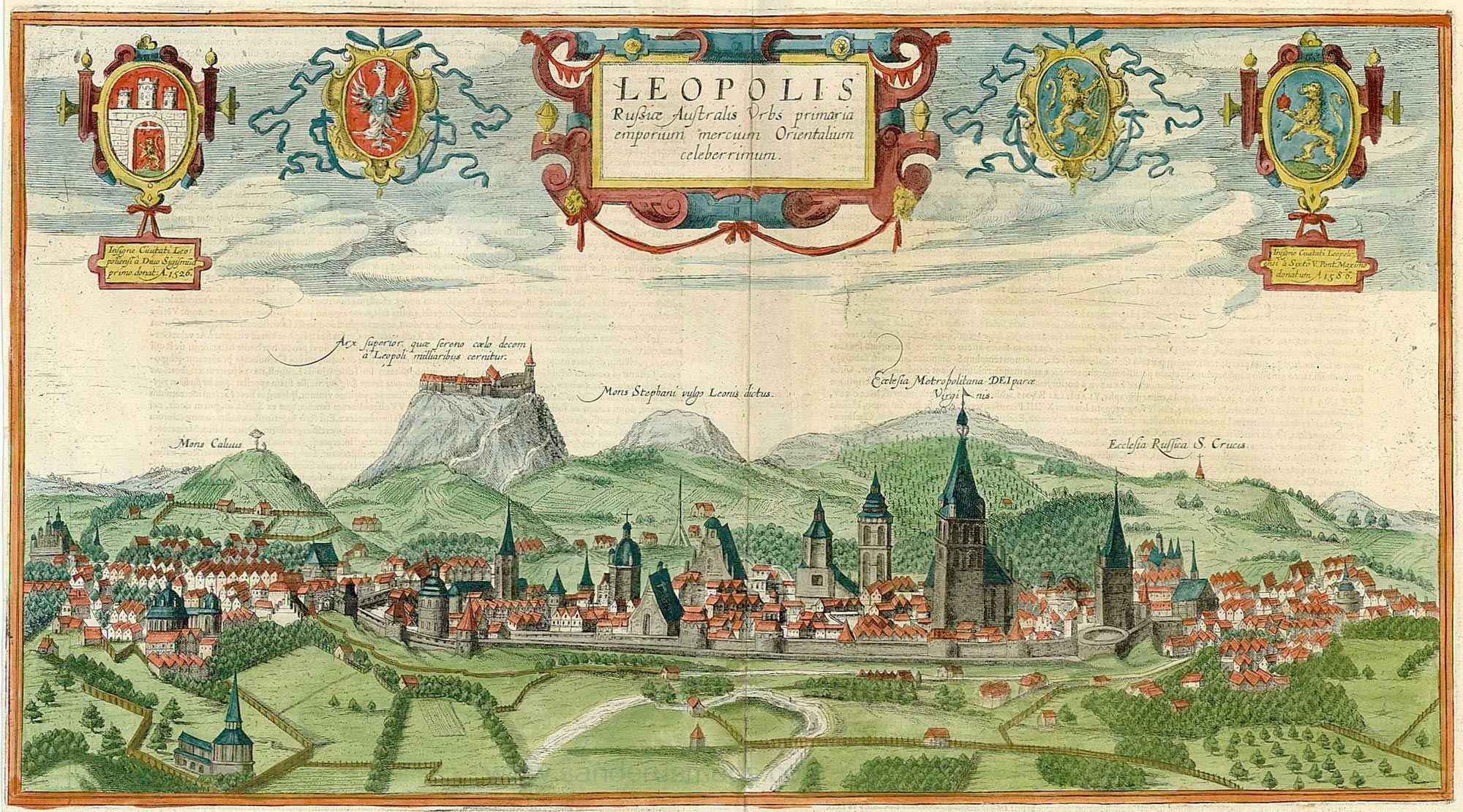 Kiedy w 1648 r. pod Lwów nadciągały wojska Chmielnickiego, miasto na pewno nie wyglądało tak sielankowo, jak na tej XVII-wiecznej panoramie (źródło: domena publiczna).