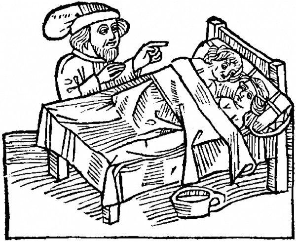 Noc poślubna przy świadkach? Tak to wyglądało XV-wiecznej rycinie.
