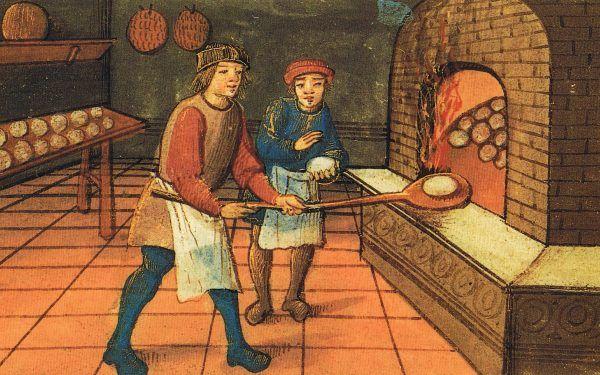 Chlebek na monarszy stół? Tylko bielutki, pszenny! Na ilustracji średniowieczni piekarze przy pracy (źródło: domena publiczna).