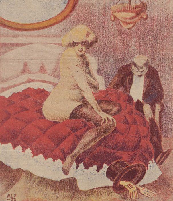 """""""Nieporozumienie"""". Ilustracja okładkowa magazynu """"Bocian"""". 1924 rok."""